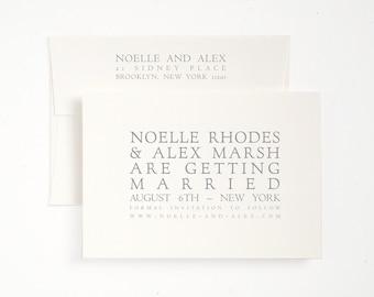 Elegant Save the Date - Castello - Letterpress Printed - Classic Italian Style
