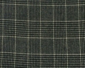 Wool Fabric / Plaid Wool / Black and White Plaid Wool / Wool Suiting Fabric