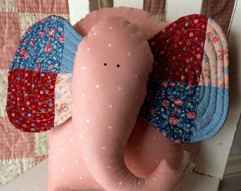 elephant pillow, coral animal pillow, vintage patchwork pillow, decorative nursery pillow, elephant decor, whimsysweetwhimsy, ready to ship