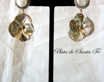 "Jemez Artist ""GLENDA LORETTO"" Contemporary 925 Floral Earrings with Pearls/14k"