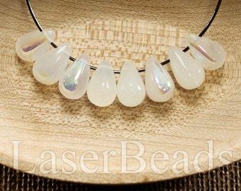 Teardrop beads 30pc 10mm | Milky white teardrops | Czech glass teardrop beads | Tear drop beads | AB tear drops last
