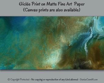Giclee fine art print, Panoramic wall art, Abstract painting, Blue brown teal turquoise aqua gold, Home decor, Office wall decor, XL artwork