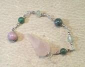 Rose Quartz Pendulum - Rhodonite Aventurine Prehnite Serpentine Rose Quartz - Reiki Infused Energy Jewelry