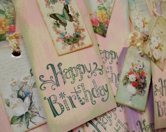 TAGS HAPPY BIRTHDAY - set/3 - large, double, handstamped with ties