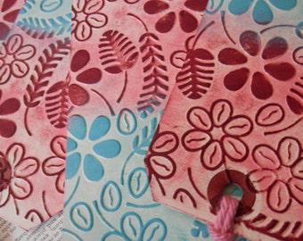 4 LARGE TAGS Embossed Floral Design Pink Peach Burgundy Sky Blue Robin's Egg