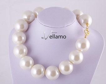 SALE Huge statement design necklace, large faux pearl necklace, cream white, huge faux, 30mm large white pearls, fashion statement necklace