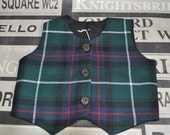 Babies Tartan Waistcoat. MacDonald tartan baby vest.  Size 6-12m, with faux stag horn buttons. Scottish waistcoat. MacDonald of the Isles