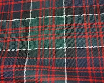 MacDonald of Clanranald Tartan Fabric. Modern version. 100% 10oz Pure New Wool.  Large Remnant Piece.