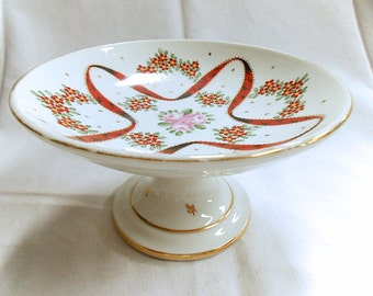 French Vintage Mehun Porcelain Hand Painted Floral & Red Ribbon Compote / Bowl (C091)