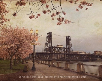 Portland Oregon Print | Springtime | Portland Bridges | Portland Oregon Photo | Oregon Photography | Warm Colors | Pink