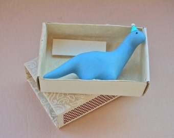Party Dinosaur in a Matchbox - Handmade Diplodocus Figure birthday celebration gift greeting card