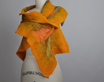 Nuno Felted Scarf - Rustic Felted Scarf - Merino Wool Felted Scarf - Merino Wool Silk Scarf - Women's Accessories - Felted Scarves