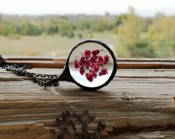 HEATHER Necklace, Flower Jewelry, Long Necklace, Jewelry, Necklace for Woman, Terrarium Necklace, BUSTANI jewelry