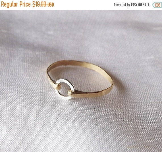 ON SALE Hammered Sterling and Gold Filled Ring - Mix Metal Ring - Gold Band - Stacking Rings - Hammered Rings