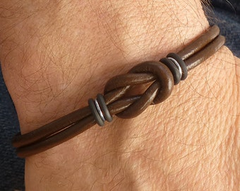 Mens Brown Leather Bracelet, Silver and Leather Celtic Bracelet for Men, Thin Leather Bracelet, Infinity Knot Magnetic Clasp Bracelet