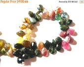 20%off. Multi Tourmaline Faceted Pear Shaped Briolette Beads in a Size of 10mm.to 13mm. Long Approx