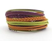 Violet Mustard Green Bohemian Wrap Bracelet, Green Purple Women Bracelet, Brown Ethnic Gypsy Bracelet, gift for her, double wrap boho chic
