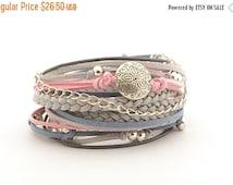 ON SALE Rose Denim Gray Boho Wrap Bracelet, Bohemian Jewelry, Rose Quartz and Serenity Hippie Gypsy Bracelet, gift for her