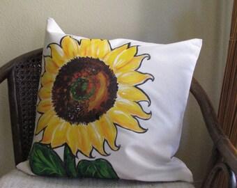 Sunflower Pillow Hand Painted.