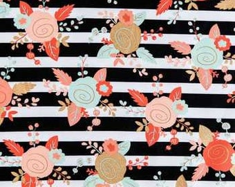 Piper Floral /Black /Gold /Coral/ Mint Fabric Fabric 100% Cotton Quilting Sewing