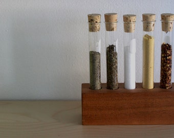 CLEARANCE  Eco friendly Test Tube Spice Rack with cork stoppers in salvaged wood available in Mahogany