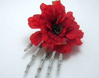 Day of the Dead Skull Gothic Hand Barrette