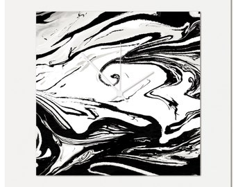 Black and White Swirl Clock | Multimedia Abstract Wall Decor, Artistic Acrylic and Metal Clocks