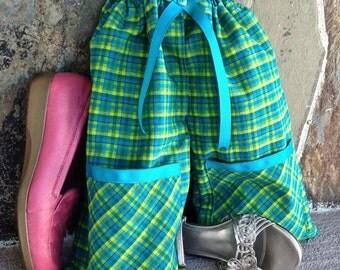 Shoe Pants Travel Bag, Separated Shoe Bag, Shoe Organization, Travel Shoe Bag,  Shoe Protection, Plaid Shoe Pants with Pockets