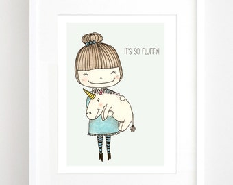 Fluffy unicorn - Illustration Art Print, kids art, nursery decor, children's wall art, kids room decor.