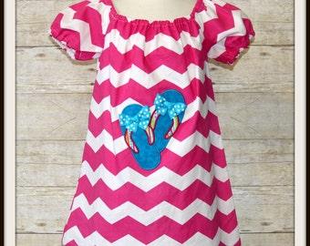 Custom Chevron Flip Flop Dress, Boutique Sandals Dress, Girls Bow Flip Flops Applique Dress, Girls Summer Dress, Size 2T 4T RTS