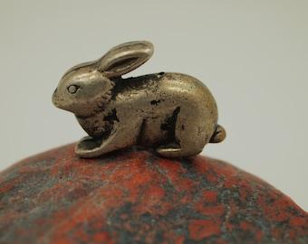 "Vintage Metal Rabbit Bead - Aged Silver Hollow Metal Bead - 1.25"" length x 3/8"" width x 7/8"" height"