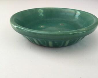 Vintage Pottery Bowl Saucer Green