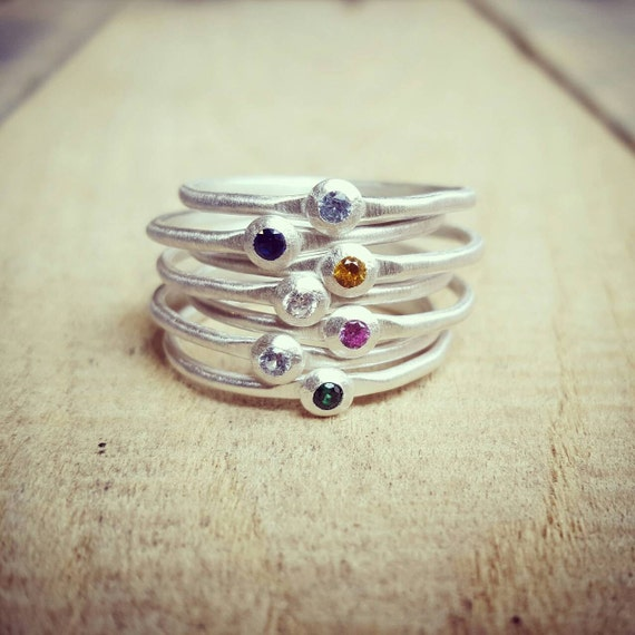Stacking Birthstone Ring in Sterling Silver