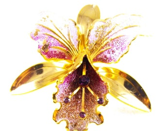 Orchid Flower Brooch Stippled Enamels Over Gold Tone Metals Purple Rhinestone Accents Large Size Beauty