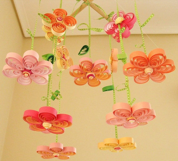Baby Mobile - Crib Mobile - Floral Mobile - Blossom Mobile - Quilling Quilled Mobile Kawaii -  Nursery Mobile - Flower Mobile 1B ,