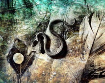 The Serpent (Select Size) Fine Art Photography Wall Art Home Decor Photo Montage Collage Michigan Leaf Snake Feather Hand Monochromatic Fear