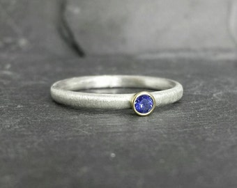 Little Blue - 9ct 9k gold bezel set sapphire ring, silver skinny band UK