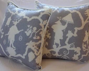 Handmade Pillow with Schumacher Shantung Silhouette Fabric