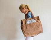 Waxed Canvas Diaper Bag Soft Brown