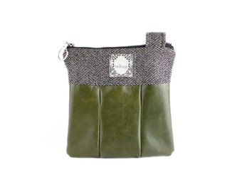 "Leather Crossbody Bag, Olive Green and Tweed, Birdbags ""Winter Wren"" Small Purse"