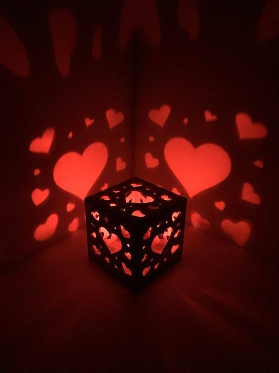 Heart Night Light Hearts Wooden Box Light Led Electric