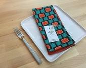 set of 4  reversible cotton napkins, mid-century, modern, teal, orange, kitchen gift, housewarming, hostess gift