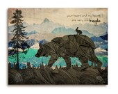 Wooden art print, bear and rabbit friendship quote, silhouette in mountains, black, blue and turquoise, quote, inspirational