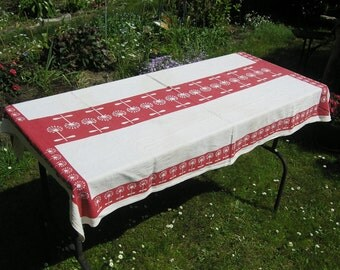 Vintage Rectangular Floral Tablecloth in Red and Cream, Mid Century Cotton Tablecloth with Geometric Dandelion Flowers, Make a Wish Flowers