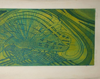 Vintage green abstract aquatint with etching signed richard artist proof