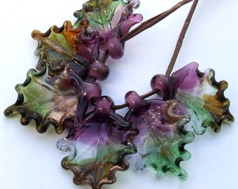 Lampwork Glass Leaves for Jewelry Making, Set of 6 leaf beads in shades of green, amethyst, amber, Made to Order