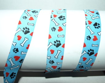 ribbon doglove blue with paws hearts and bones