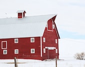 Red Barn, Landscape Photography, Rustic Modern Decor, Country Farmhouse Wall Art, Red White & Blue | 'Crimson'