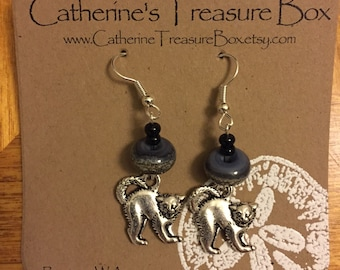 Handmade Art Glass Bead Earrings with Cat Charms on Silver Plate Ear Wires
