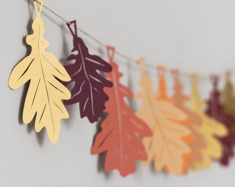 Autumn Oak Leaves Garland - Autumn Wedding - Thanksgiving Decorations - Autumn Garland - Oak Leaf Bunting - Fall Decorations